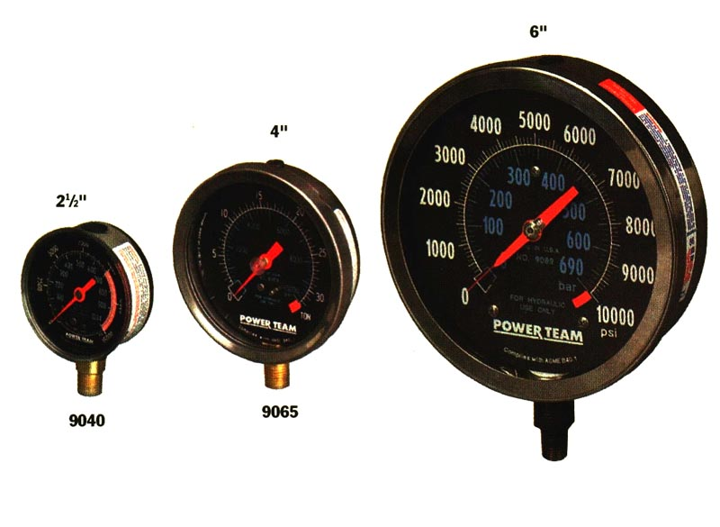 SPX Power Team 9052 Silicone Filled Analog Gauge 4 Face Diameter